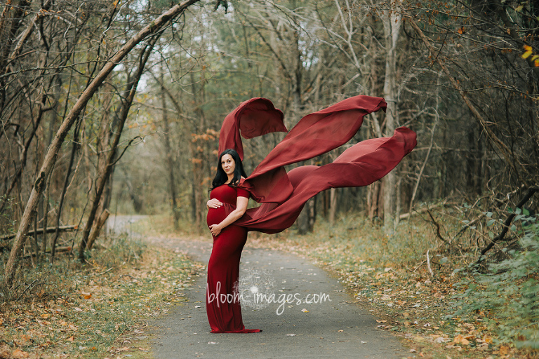 Maternity Photography Northern VA stunning red dress